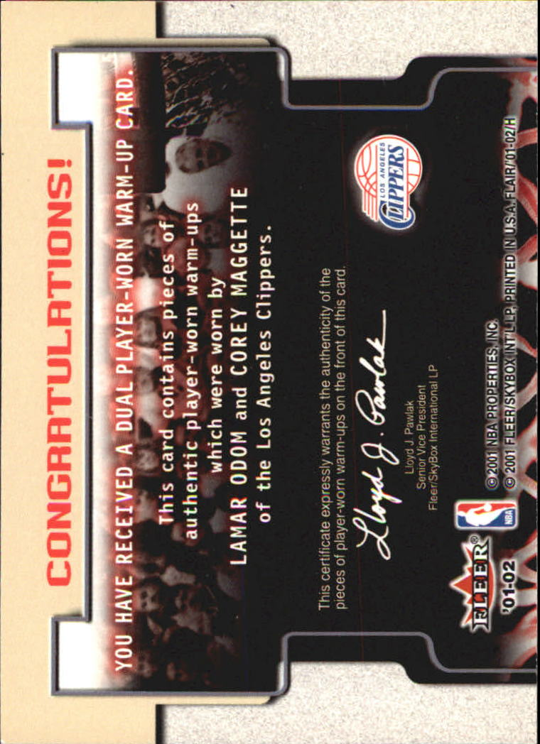 2001-02 Flair Warming Up Dual #4 Lamar Odom/Corey Maggette back image