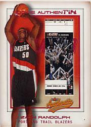 2001-02 Fleer Authentix #135 Zach Randolph RC