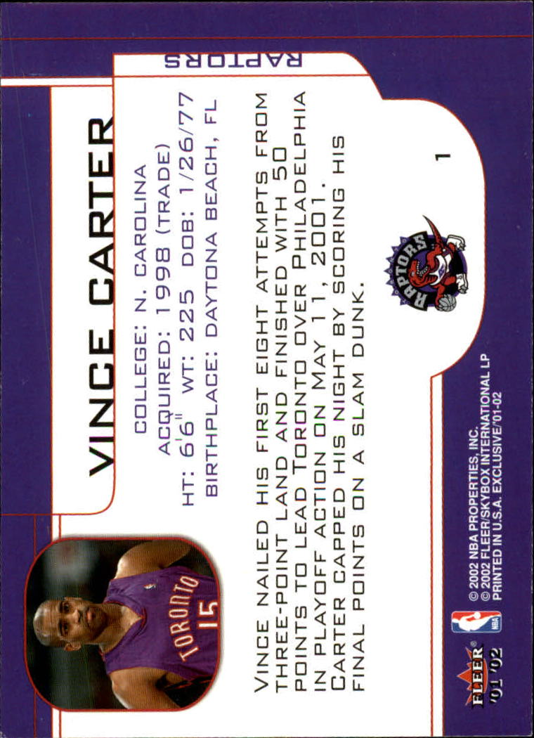 2001-02 Fleer Exclusive #1 Vince Carter back image