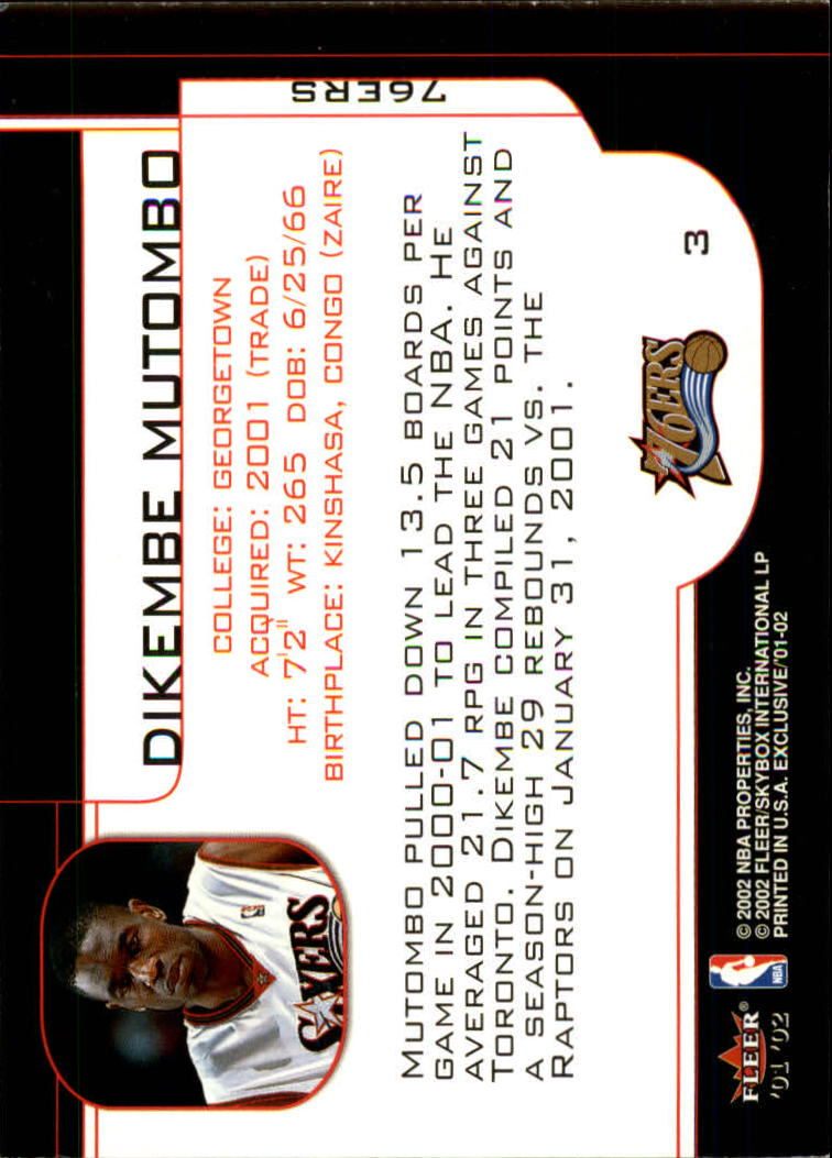 2001-02 Fleer Exclusive #3 Dikembe Mutombo back image