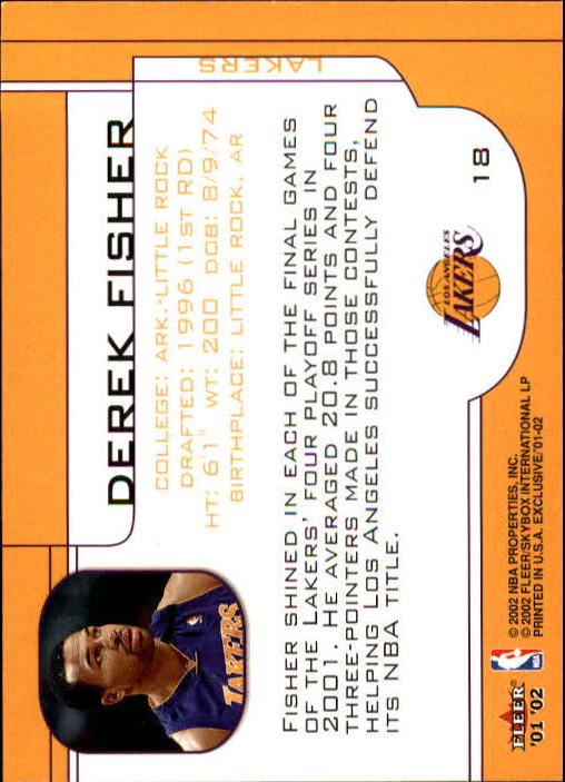 2001-02 Fleer Exclusive #18 Derek Fisher back image