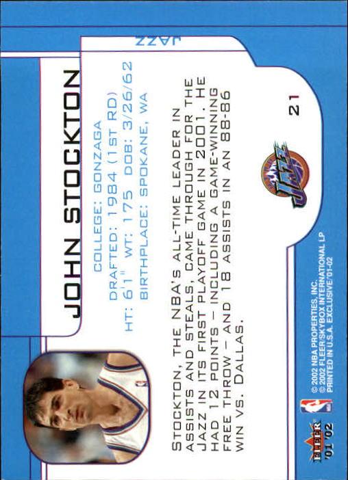 2001-02 Fleer Exclusive #21 John Stockton back image