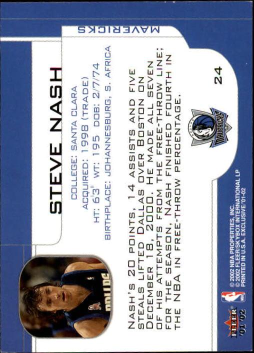 2001-02 Fleer Exclusive #24 Steve Nash back image