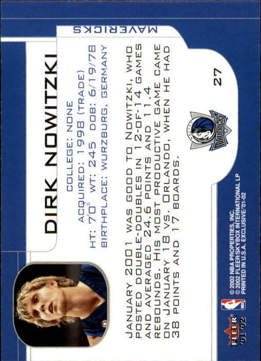 2001-02 Fleer Exclusive #27 Dirk Nowitzki back image