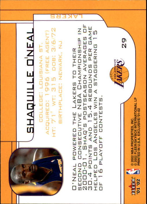 2001-02 Fleer Exclusive #29 Shaquille O'Neal back image