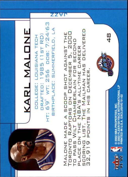 2001-02 Fleer Exclusive #48 Karl Malone back image