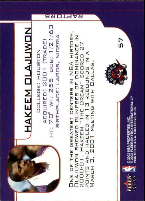 2001-02 Fleer Exclusive #57 Hakeem Olajuwon back image