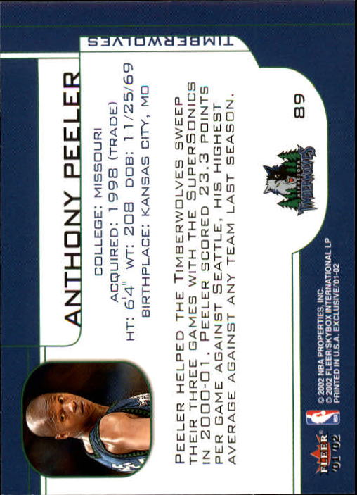 2001-02 Fleer Exclusive #89 Anthony Peeler back image