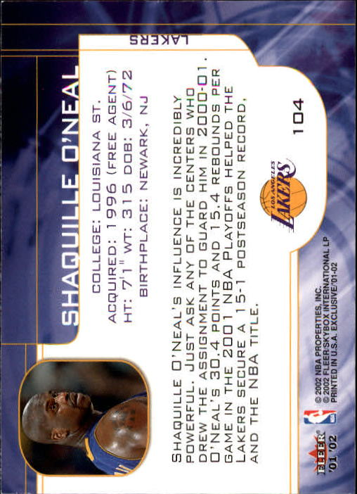 2001-02 Fleer Exclusive #104 Shaquille O'Neal MO back image