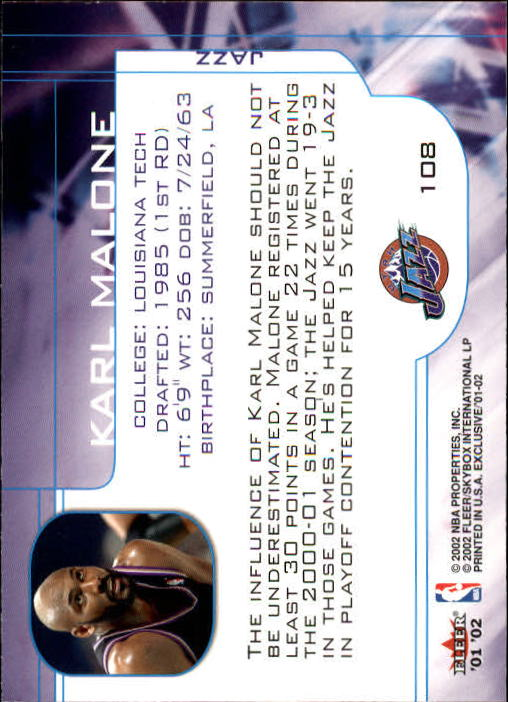 2001-02 Fleer Exclusive #108 Karl Malone MO back image