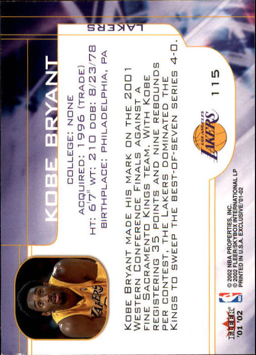 2001-02 Fleer Exclusive #115 Kobe Bryant MO back image