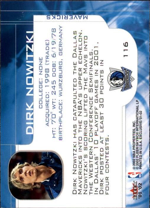 2001-02 Fleer Exclusive #116 Dirk Nowitzki MO back image