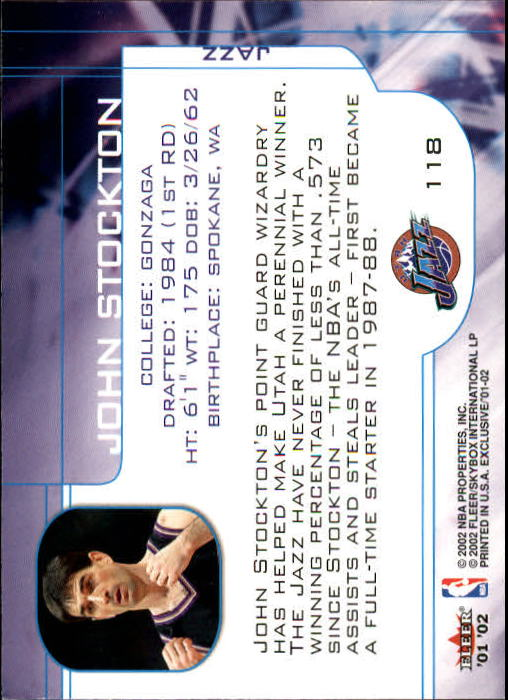 2001-02 Fleer Exclusive #118 John Stockton MO back image