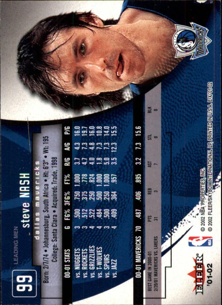 2001-02 E-X #99 Steve Nash back image