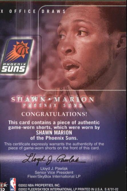 2001-02 E-X Box Office Draws Memorabilia #10 Shawn Marion Shorts back image