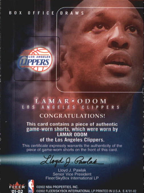 2001-02 E-X Box Office Draws Memorabilia #13 Lamar Odom Shorts back image