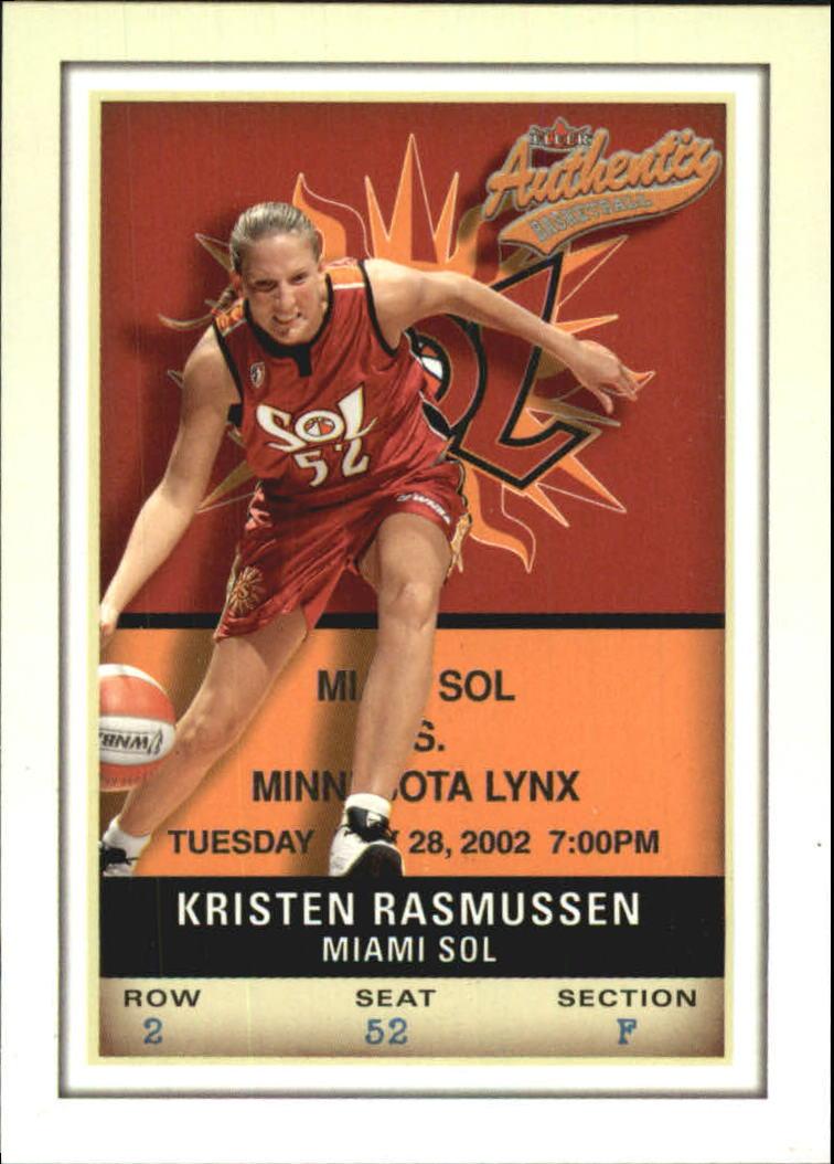 2002 Fleer Authentix WNBA #10 Kristen Rasmussen