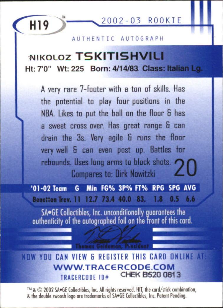 2002 SAGE HIT Autographs Silver #H19 Nikoloz Tskitishvili back image