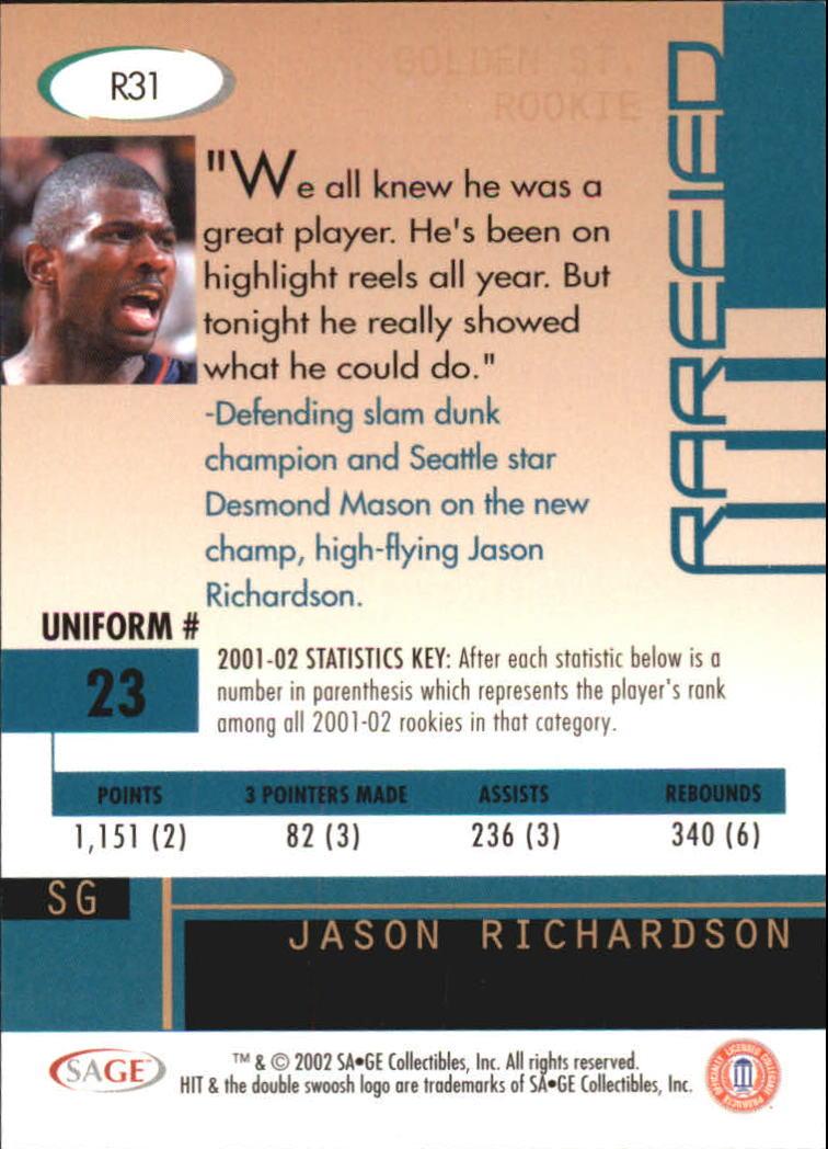 2002 SAGE HIT Rarefied Silver #R31 Jason Richardson back image