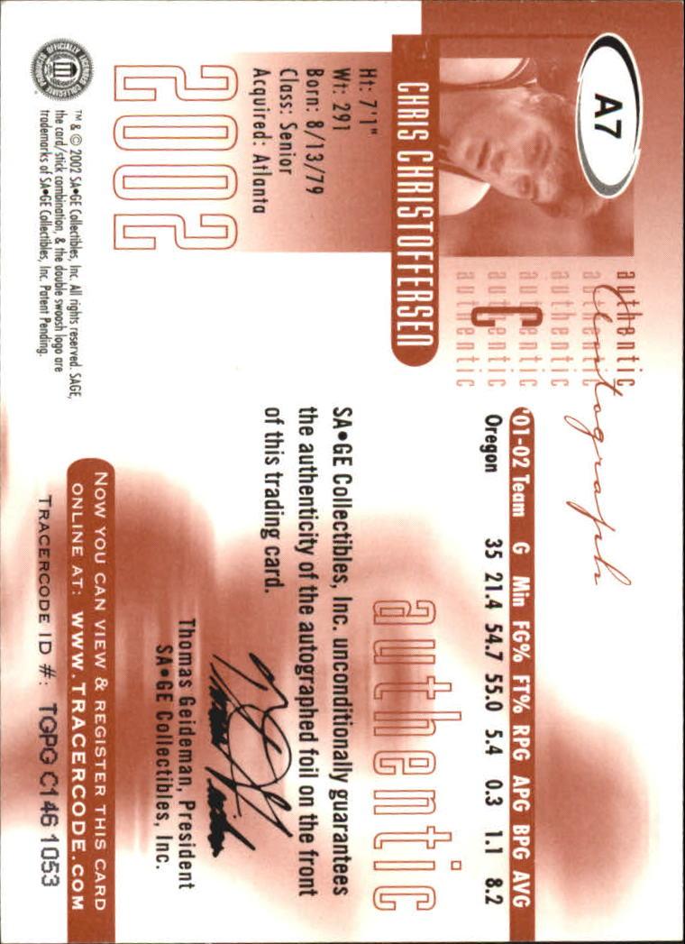 2002 SAGE Autographs Gold #A7 Chris Christoffersen/60 back image