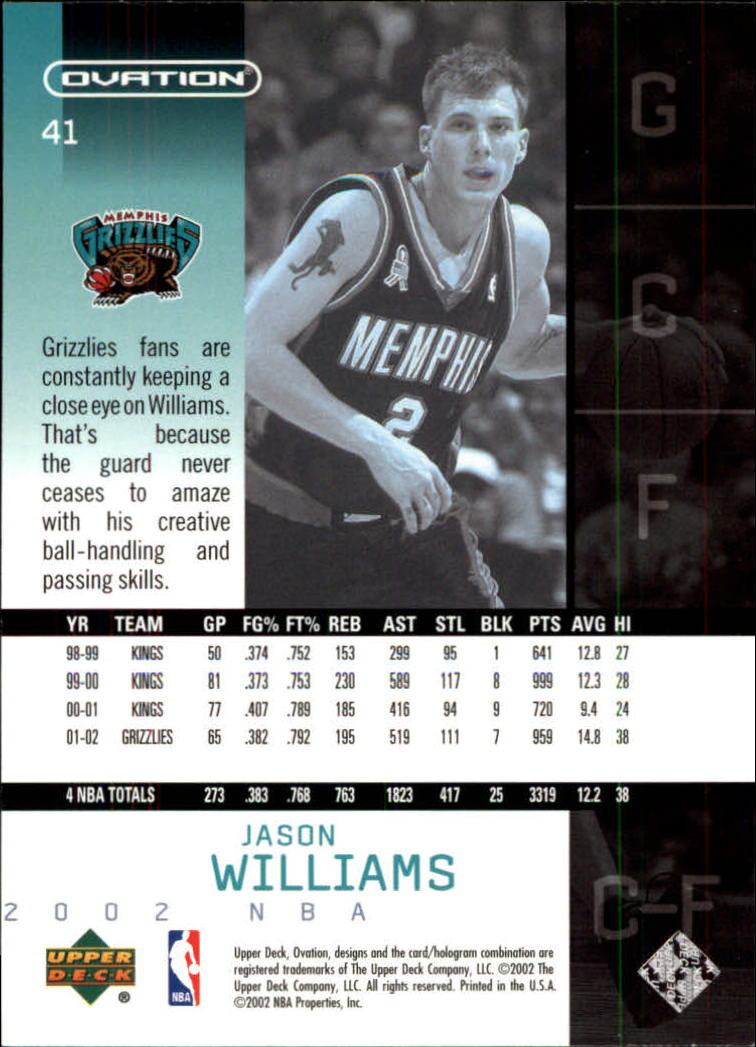 2002-03 Upper Deck Ovation #41 Jason Williams back image