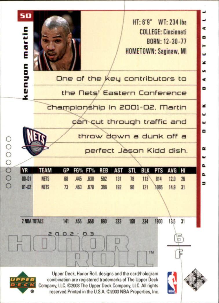91220f5d5 2002-03 Upper Deck Honor Roll New Jersey Nets Basketball Card  50 Kenyon  Martin. Front. Back