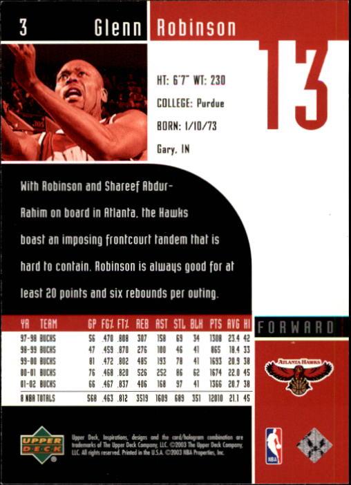 2002-03 Upper Deck Inspirations #3 Glenn Robinson back image