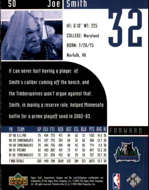 2002-03 Upper Deck Inspirations #50 Joe Smith back image
