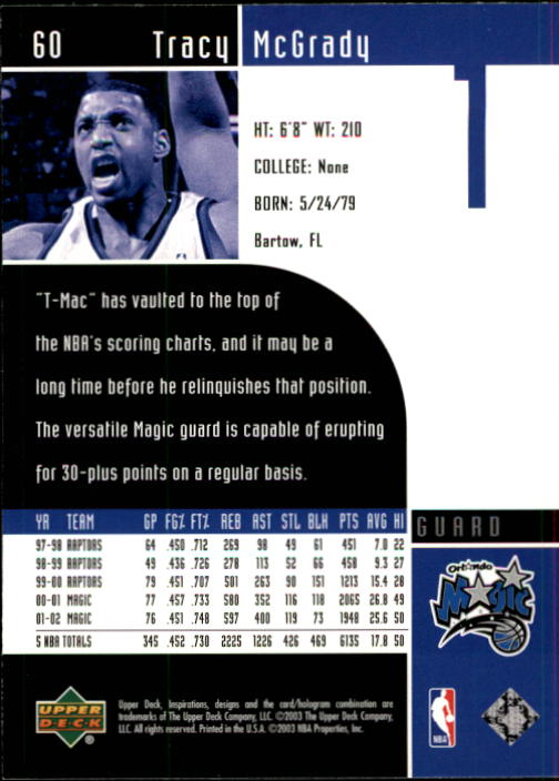2002-03 Upper Deck Inspirations #60 Tracy McGrady back image