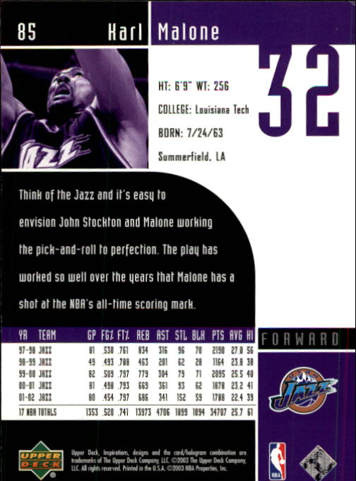 2002-03 Upper Deck Inspirations #85 Karl Malone back image