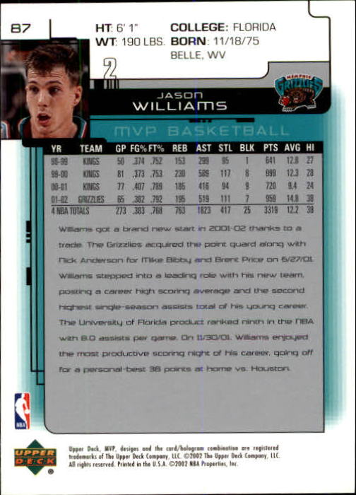 2002-03 Upper Deck MVP #87 Jason Williams back image