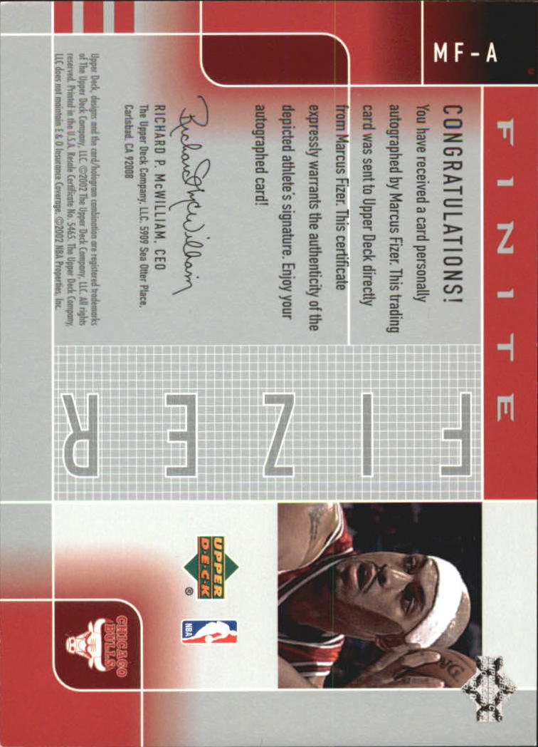 2002-03 Upper Deck Finite Signatures #MFA Marcus Fizer/104 back image
