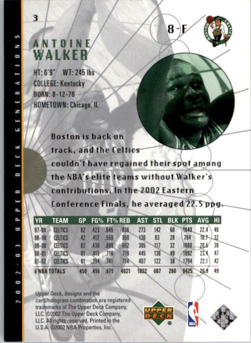 2002-03 Upper Deck Generations #3 Antoine Walker back image