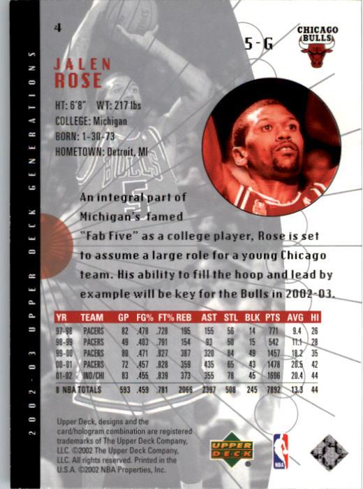2002-03 Upper Deck Generations #4 Jalen Rose back image