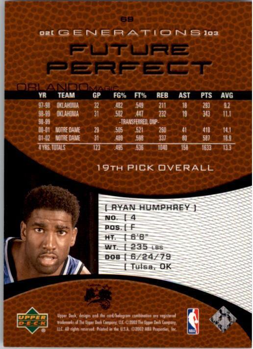 2002-03 Upper Deck Generations #69 Ryan Humphrey RC back image