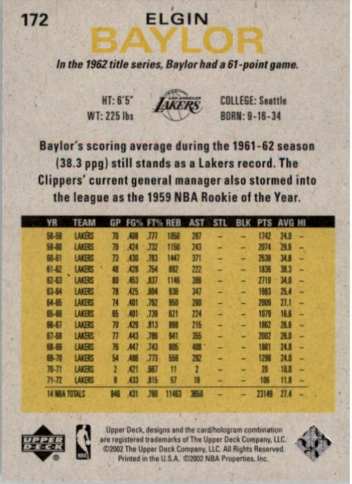 2002-03 Upper Deck Generations #172 Elgin Baylor back image