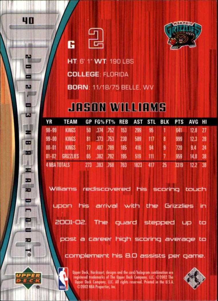 2002-03 Upper Deck Hardcourt #40 Jason Williams back image