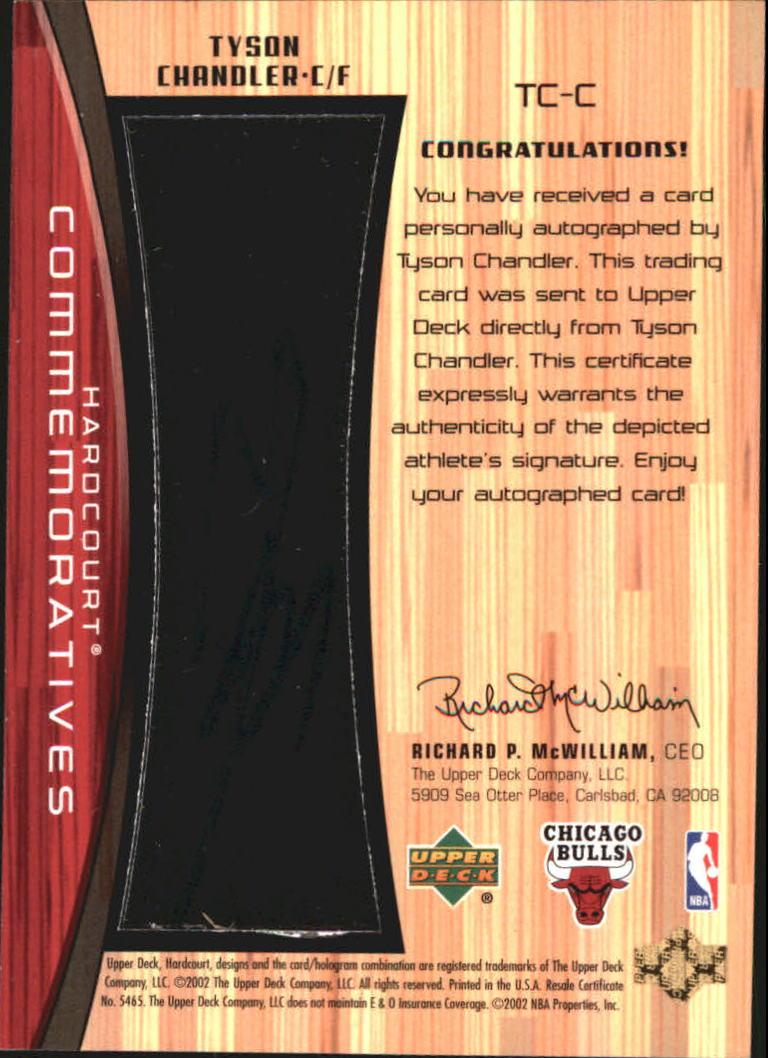 2002-03 Upper Deck Hardcourt Autographs #TCC Tyson Chandler back image