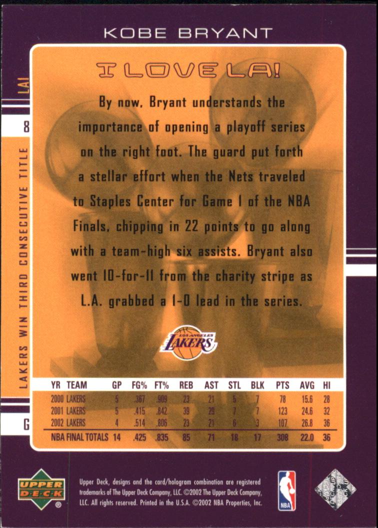 2002-03 Upper Deck I Love L.A. #LA1 Kobe Bryant back image