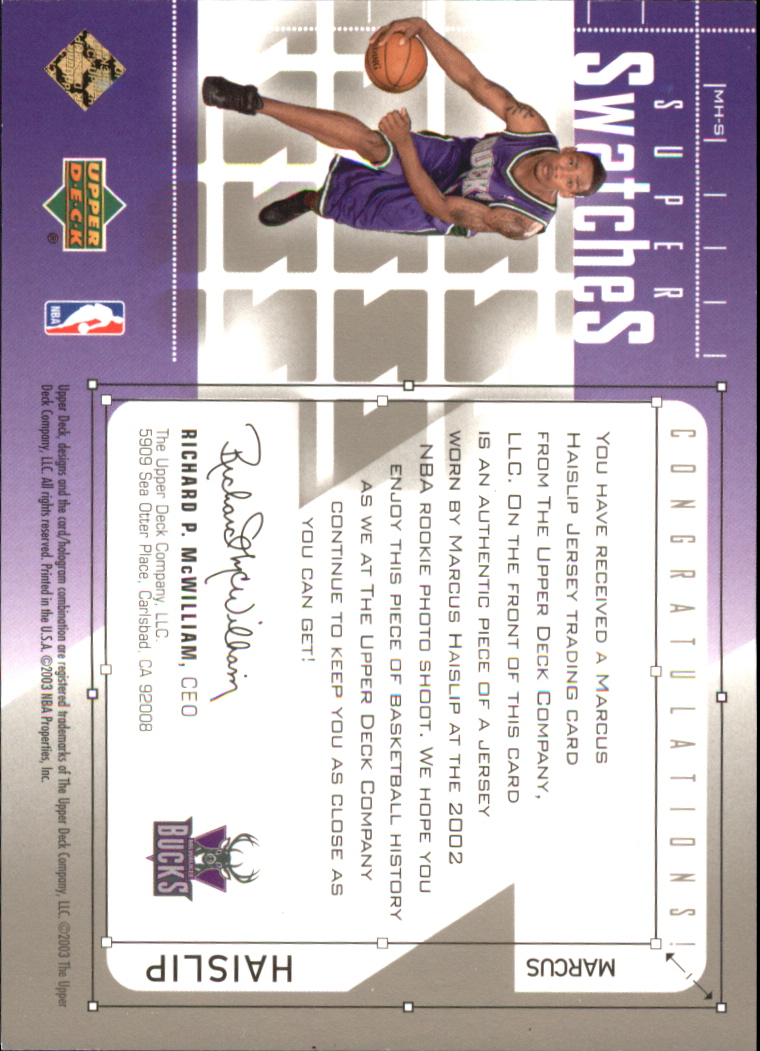 2002-03 Upper Deck Super Swatches Jerseys #MHS Marcus Haislip back image