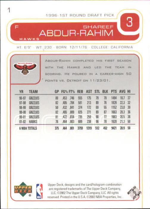 2002-03 Upper Deck #1 Shareef Abdur-Rahim back image