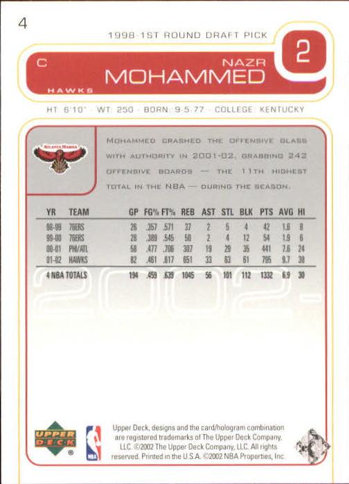 2002-03 Upper Deck #4 Nazr Mohammed back image