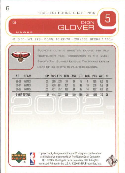 2002-03 Upper Deck #6 Dion Glover back image