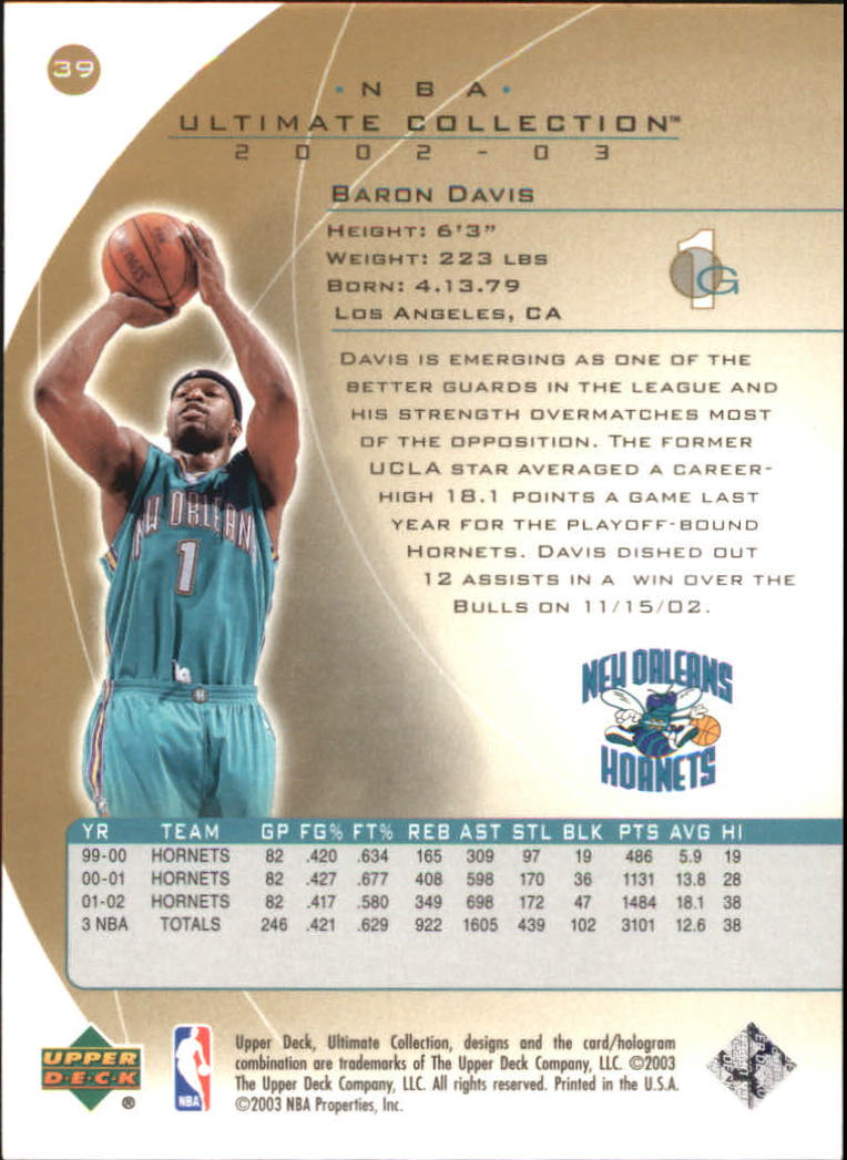 2002-03 Ultimate Collection Ultimate Parallel #39 Baron Davis back image