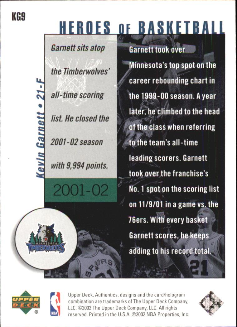 2002-03 UD Authentics Kevin Garnett Heroes of Basketball #KG9 Kevin Garnett back image