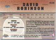2002-03 Topps Chrome Destination Relics #FDDR David Robinson back image