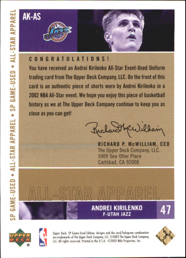 2002-03 SP Game Used All-Star Apparel Gold #AKAS Andrei Kirilenko back image