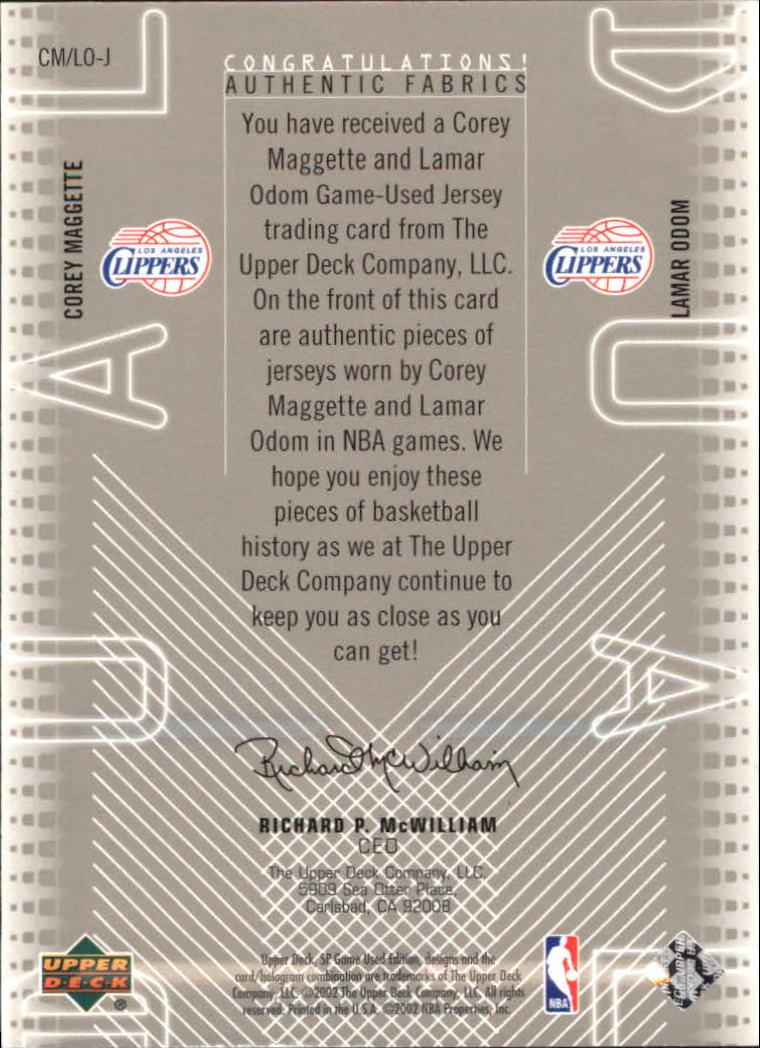 2002-03 SP Game Used Authentic Fabrics Dual #CMLOJ Corey Maggette/Lamar Odom back image
