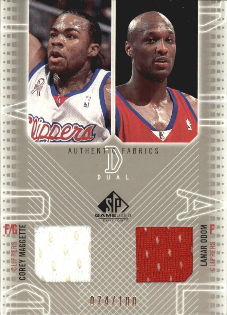2002-03 SP Game Used Authentic Fabrics Dual #CMLOJ Corey Maggette/Lamar Odom