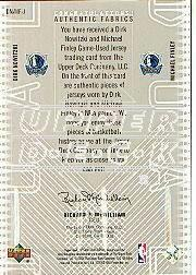 2002-03 SP Game Used Authentic Fabrics Dual #DNMFJ Dirk Nowitzki/Michael Finley back image